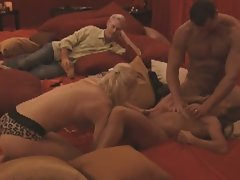 Group sex of hunk fellows and sensual ladies