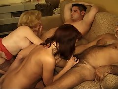 Two experienced couples banging