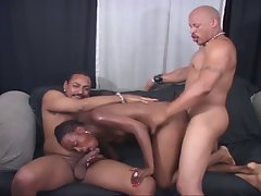 Two large ebony shafts sharing naughty ebony vagina