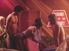 Vintage style crazy threesome action banging session