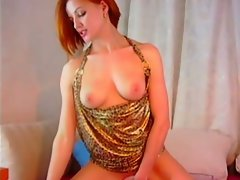 Euro-redhead babe's striptease on webcam