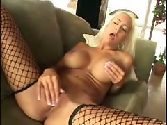 Big titted tempting blonde lassie masturbates in fencenets