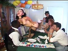 Wild midget banged by raunchy clown on table
