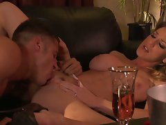 Large melons dark haired kayla paige banged wild on couch