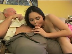Filthy grandpa shagging raunchy dark haired bombshell