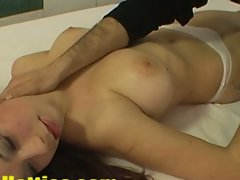 Top heavy dark haired czech strips in attractive casting session