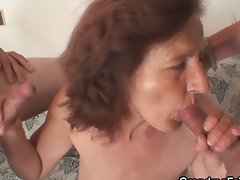 Fiery granny strips for two 19yo banging painters