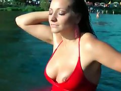 Gina killmer's red dress swimming