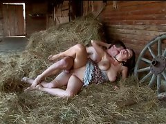 Perverted saucy teen couple explicit sex fun in the barn