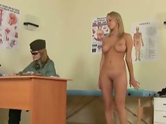 Lesbian army medic examines tempting blonde