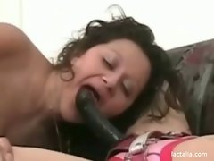 Chubby, top heavy lezzy rides on a strapon