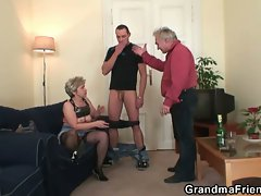 Alluring granny in dirty trio