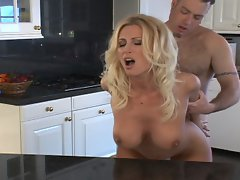 Superb tempting blonde momma screwed wild in kitchen
