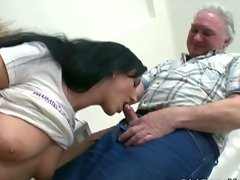 Flirty 19 years old dark haired wild sex with older fart