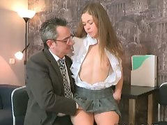 Innocent sizzling teen suck and fuck on older teacher's penis