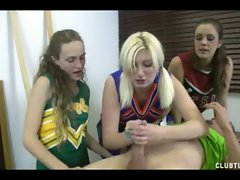 Randy cheerleaders give handjob