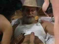 Thick penis grandpa hammering two 18yo snatch holes