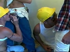 Sensual construction crew gay group sex mania