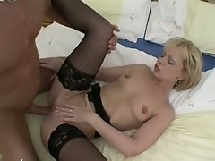 Light-haired hussy in stockings horny snatch invasion