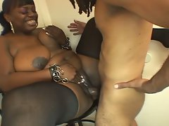 Plumper lustful ebony licks and bangs pecker
