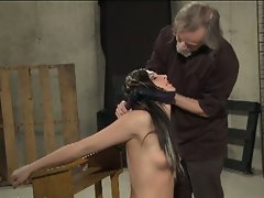 Slender dark haired slave tortured wild by master dad