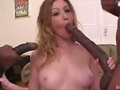 Monstrous ebony phalluses attacking cum eating tart