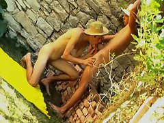 Stunning twinks outdoor wild butthole stuffing session
