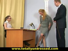 Embarassing naked job interview for shy blond lady
