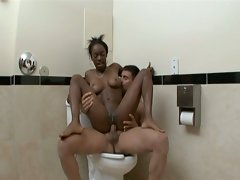 Black babe grinded and creampied in public bathroom