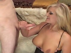 Large melons light-haired in stockings jerking hard shaft