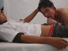 Kinky asian doctor playing tense lad butt in filthy physicals