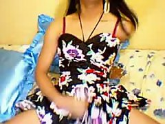 Filthy asian transsexual jerking racy phallus in sensual solo show on cam