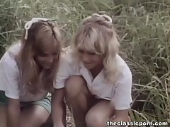Classic porn in the forest with two alluring ladies