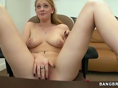 18yo blondie hussy exposes rosy twat lips to boss