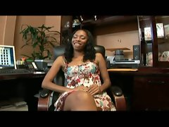 Naughty ebony loveliness gets nailed point of view style on the office confessional