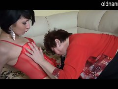 Granny helps sensual dark haired try out new strapon