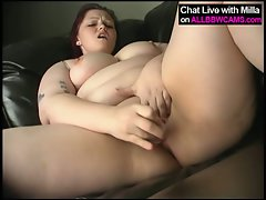 Obese heavy bum masterbating on couch