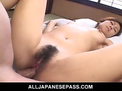 Seductive japanese cougar nana nanami banged in bushy snatch
