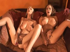 Lezzies fingering and toying muffs