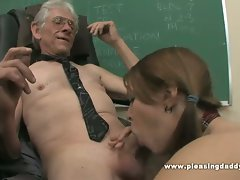 18 years old schoolgirl grinded by her experienced teacher