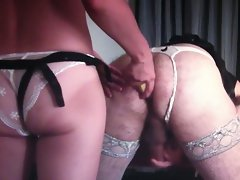 Mistress in sexual panties screws his sissy butt with banana