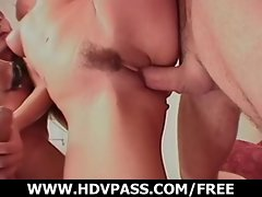Dark haired hussy gets double penetrated.
