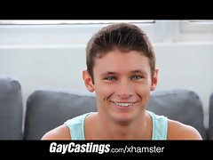 GayCastings Sensual baby blue eyes crys with a prick in his mout