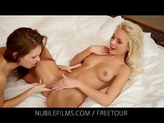 Nubile Films- Grace Hartley grinds her snatch on lesbo love