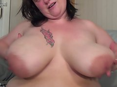 Big breasted aged Cute bbw playing with her toy
