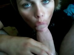 Amateur With Nice looking Eyes Lets Her Man Cum In Her Mouth