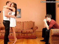 Whorish dirty wife one night stand unloads into her submissive