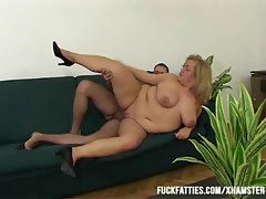 Attractive Obese Sensual Whore Freezes - Repairman Helps Her Get Warm!