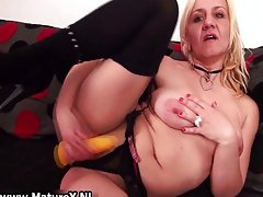 Sensual blond experienced mother is touching