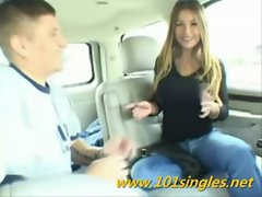 Bigtitts Saucy teen bangs in car